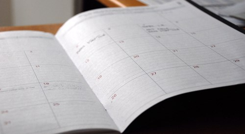 Close up of a weekly planner