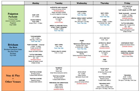 Activity timetables